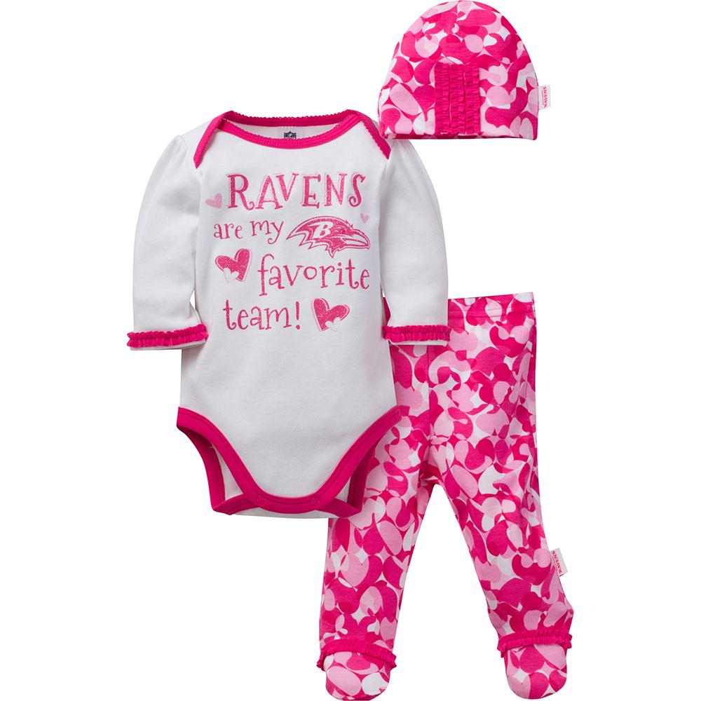 Baltimore Ravens Baby Girls 3-Piece Bodysuit, Footed Pant and Cap Set
