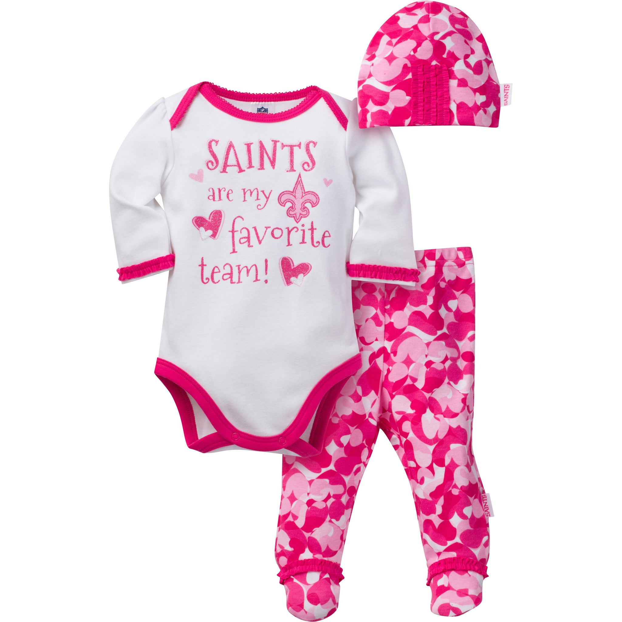 New Orleans Saints Baby Girls 3 Piece Bodysuit, Footed Pant and Cap Set