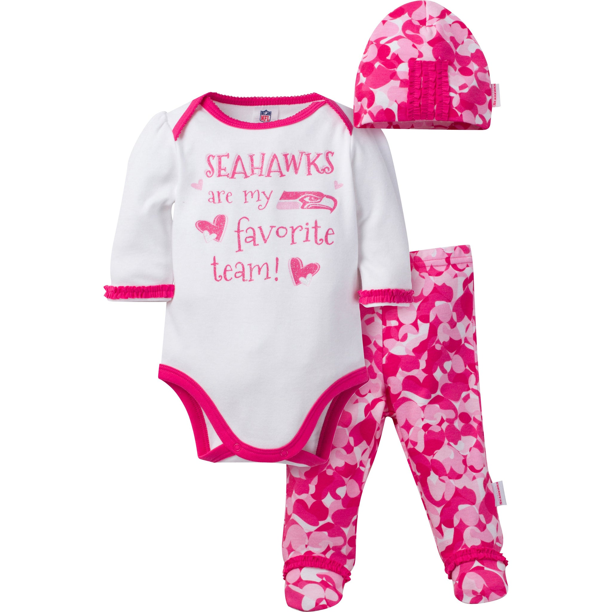 Seattle Seahawks Baby Girls 3 Piece Bodysuit, Footed Pant and Cap Set