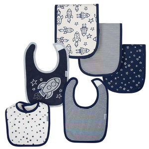 6-Pack Boys Rocket Terry & Organic Cotton Blend Bib & Burp Cloth Set