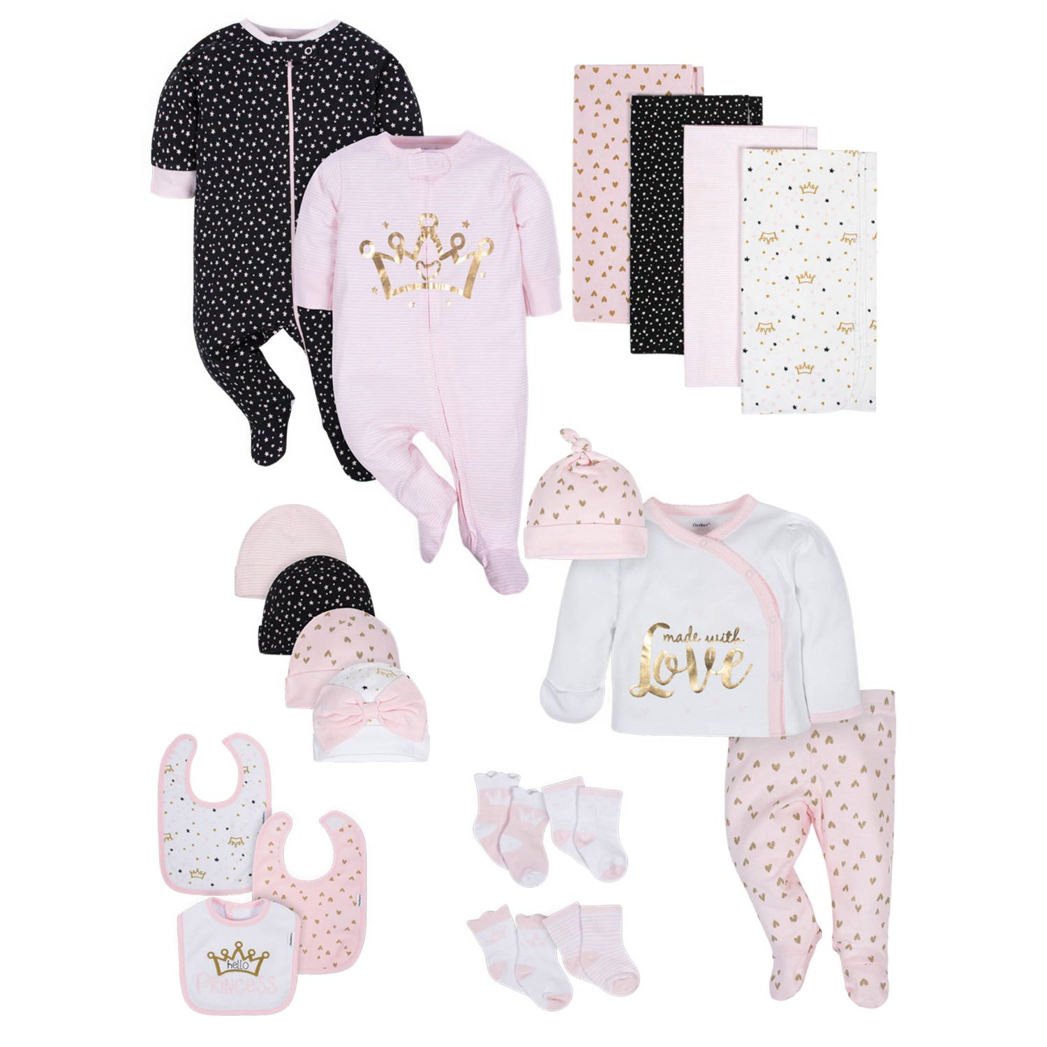 20-Piece Baby Girls' Organic Princess Gift Set