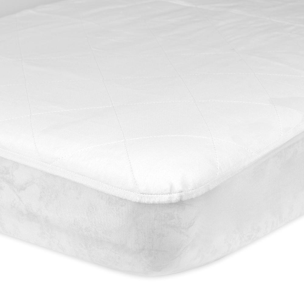 1-Pack White Quilted Fitted Crib Pad With Waterproof Barrier