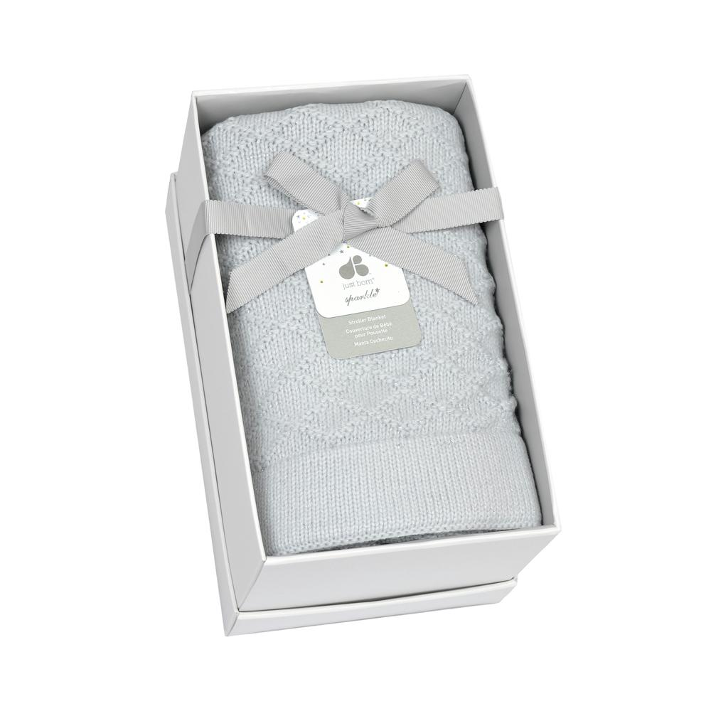 Just Born® Sparkle Grey Sweater Knit Blanket-Gerber Childrenswear