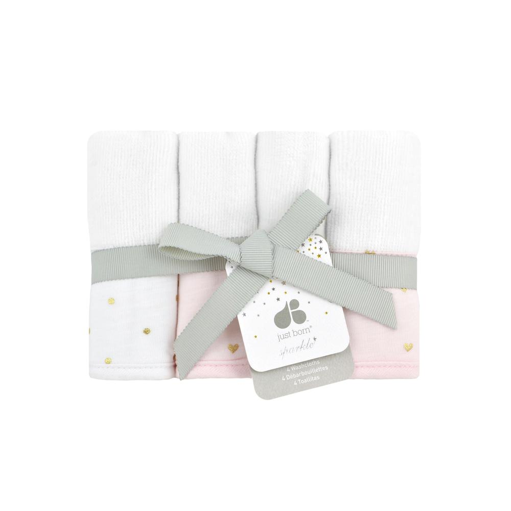 Just Born® Sparkle Washcloths 4-Pack in Pink-Gerber Childrenswear