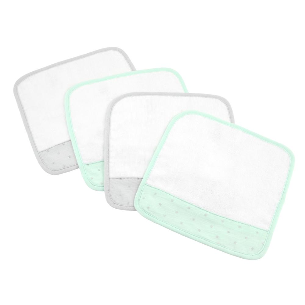 Just Born® Sparkle Washcloths 4-Pack in Mint-Gerber Childrenswear