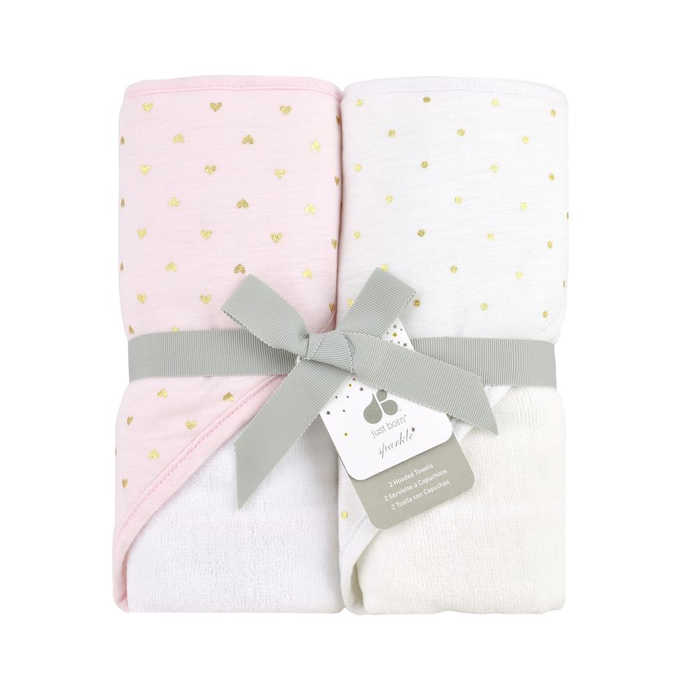 Just Born® Sparkle Hooded Towel 2-Pack in Pink-Gerber Childrenswear