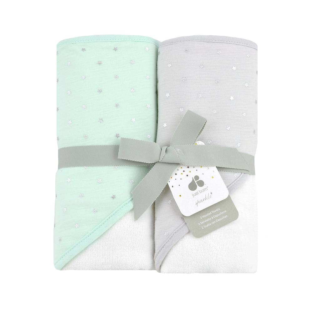 Just Born 174 Sparkle Mint Green 2 Pack Hooded Towel Set
