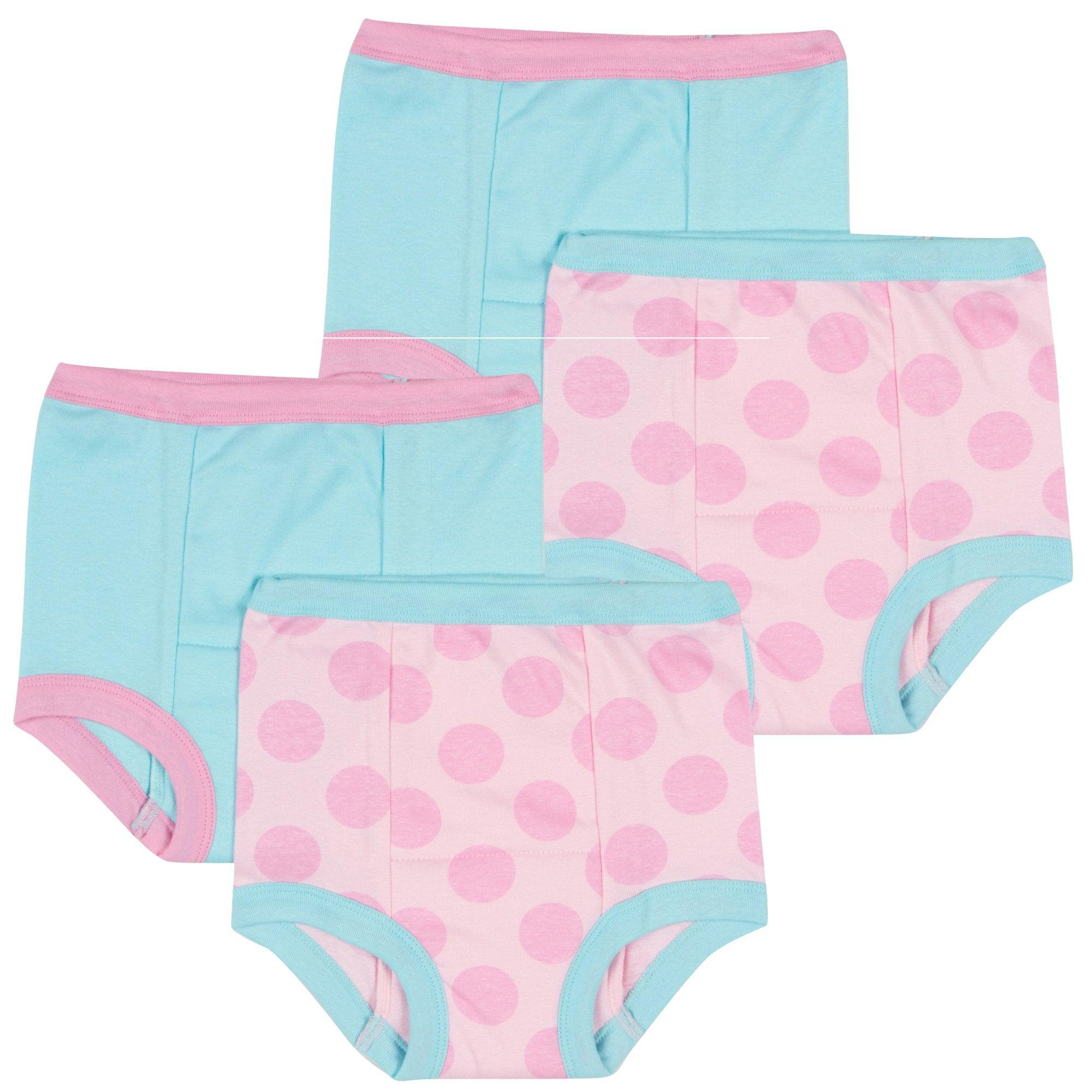 4-Pack Girls Pink Dots Training Pants