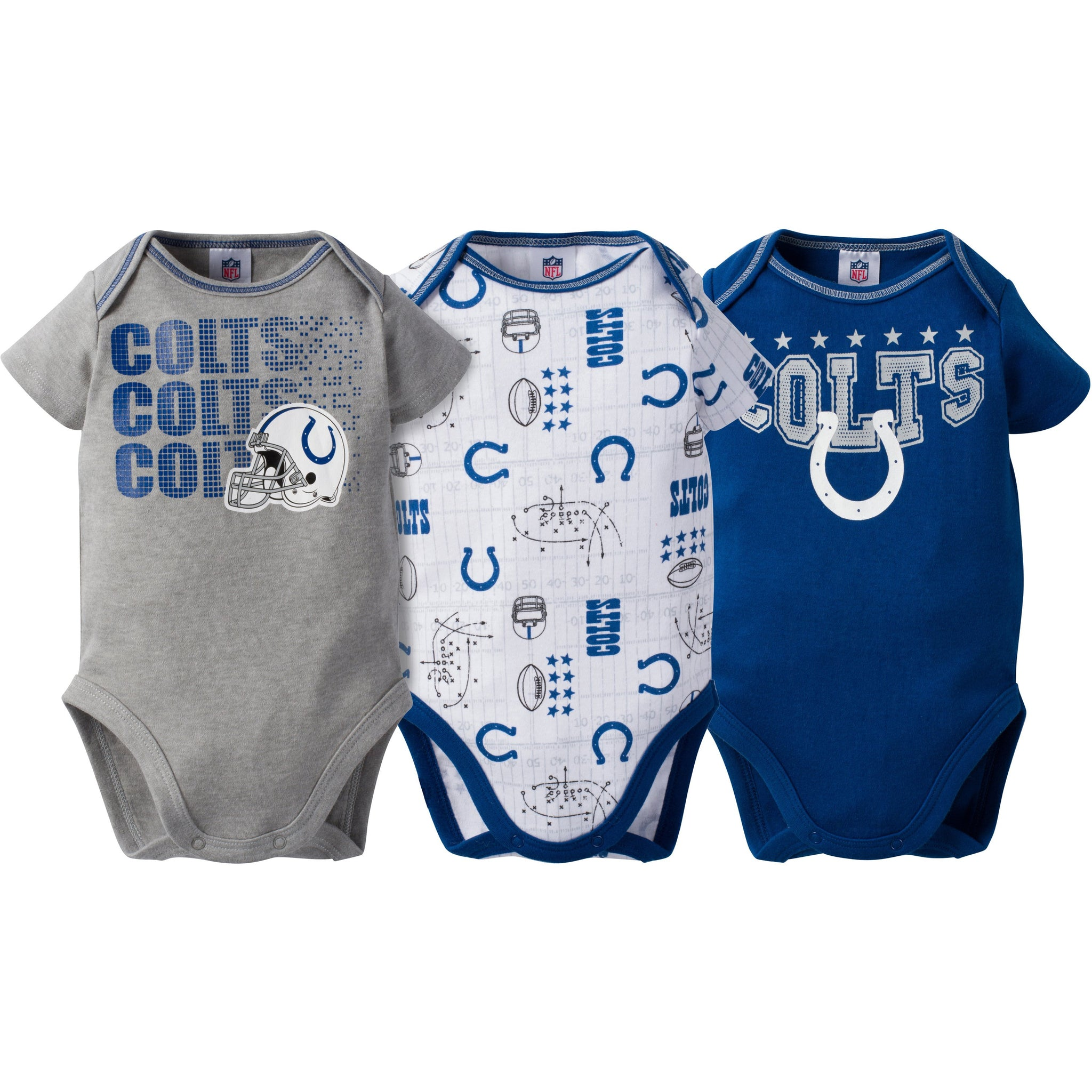 Indianapolis Colts Baby Boy 3-Pack Short Sleeve Bodysuits