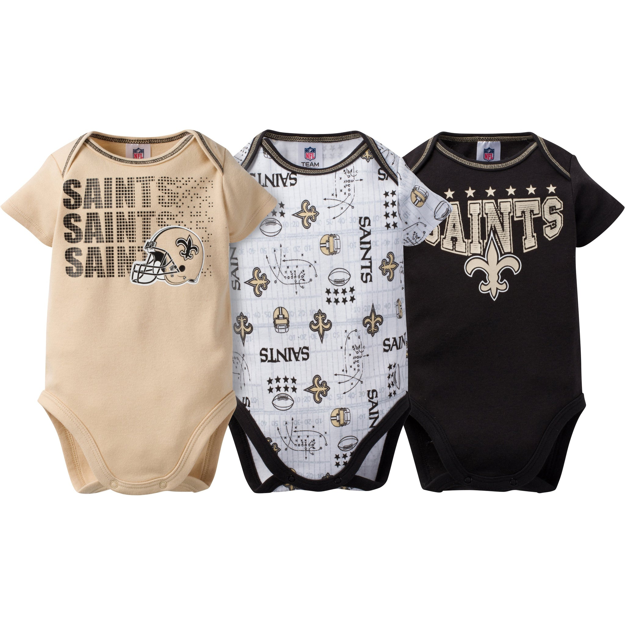New Orleans Saints 3-Pack Infant Short Sleeve Bodysuits-Gerber Childrenswear