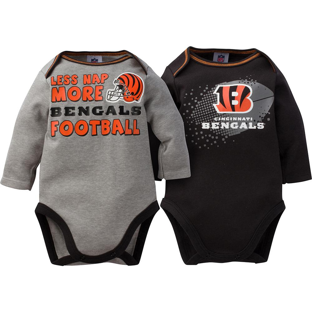 Bengals Baby Boy 2-Pack Long Sleeve Bodysuit-Gerber Childrenswear