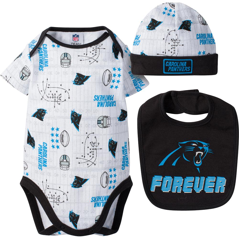 Carolina Panthers Baby Boy 2-Piece Short Sleeve Bodysuit, Bib and Cap Set