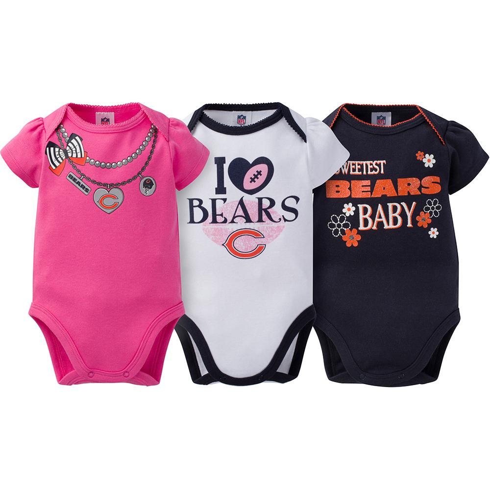 Chicago Bears 3-Pack Infant Girl Short Sleeve Bodysuits-Gerber Childrenswear
