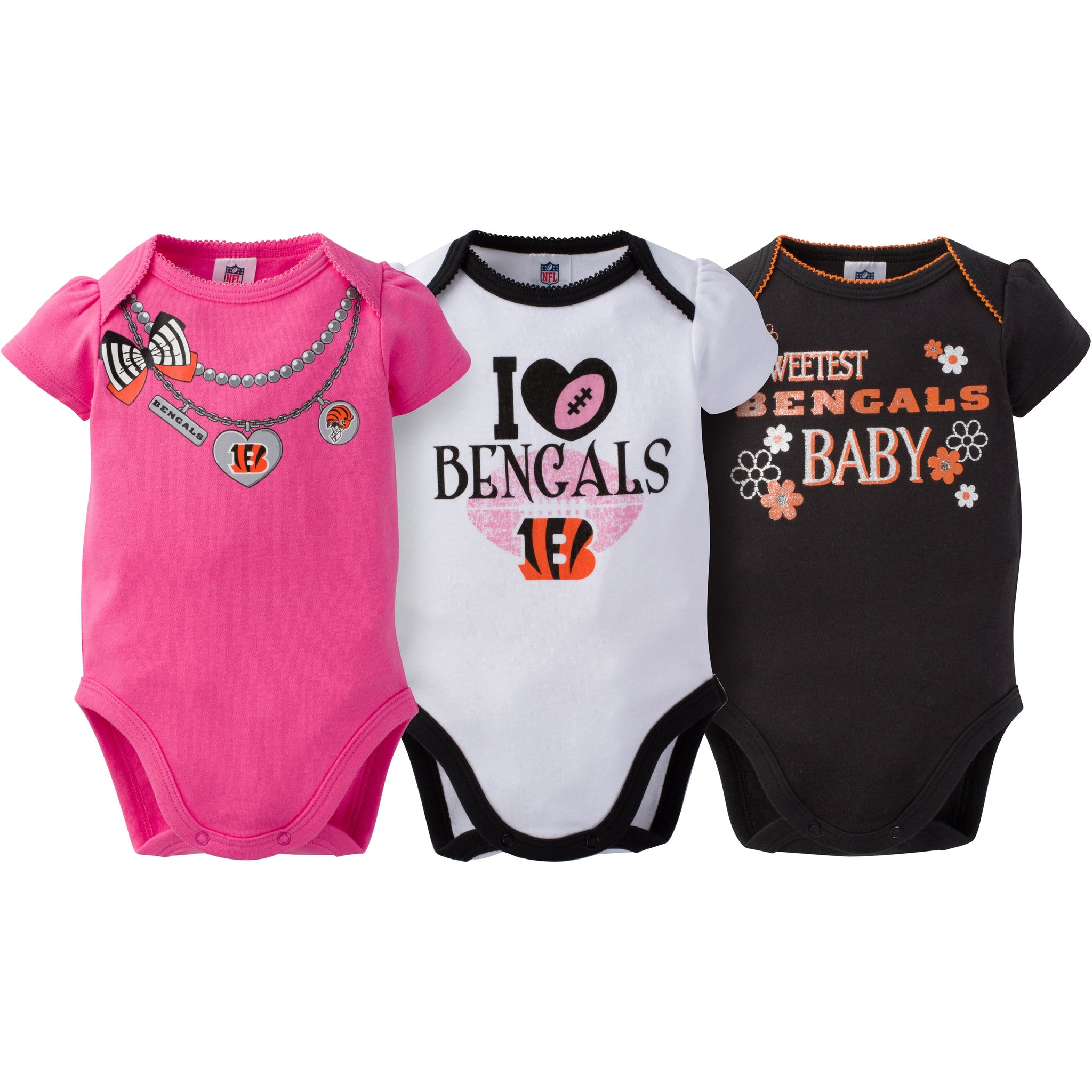 Cincinnati Bengals 3-Pack Infant Girl Short Sleeve Bodysuits