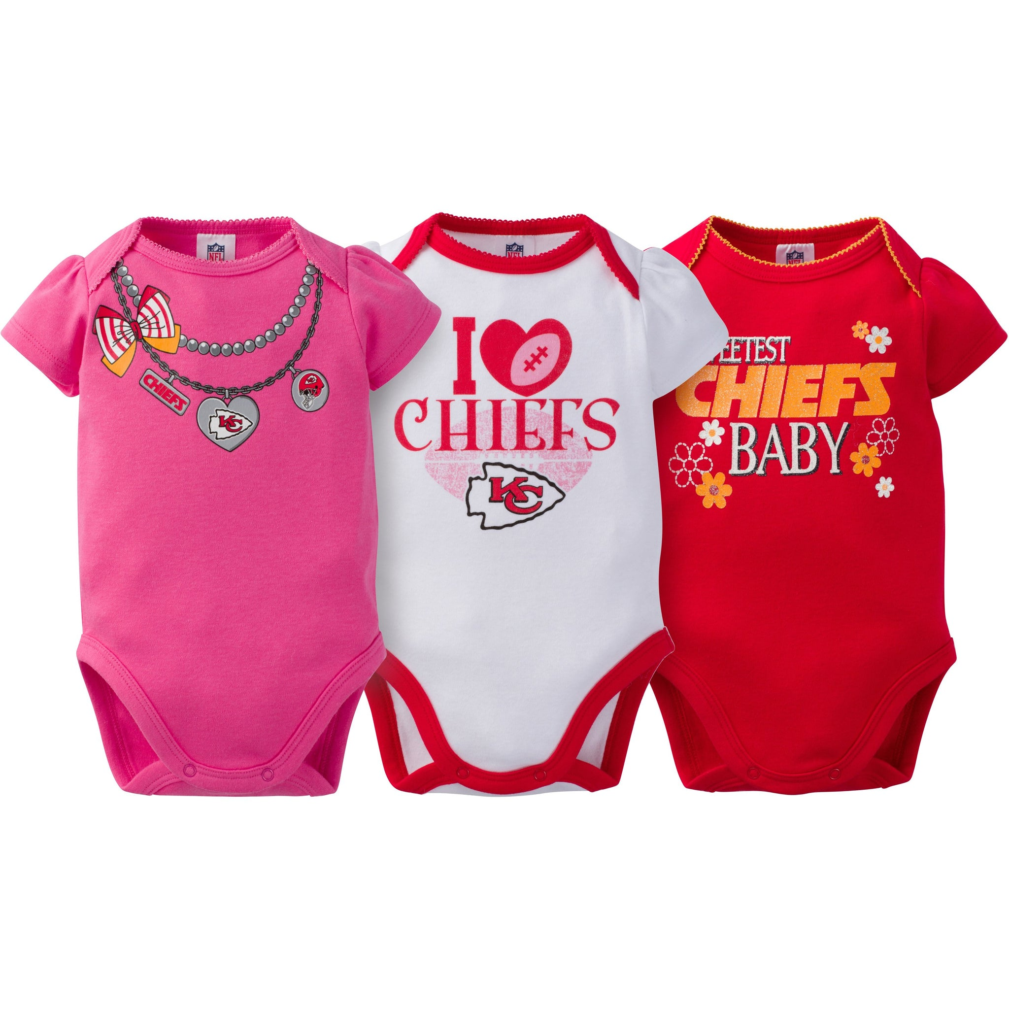 Kansas City Chiefs 3-Pack Infant Girl Short Sleeve Bodysuits