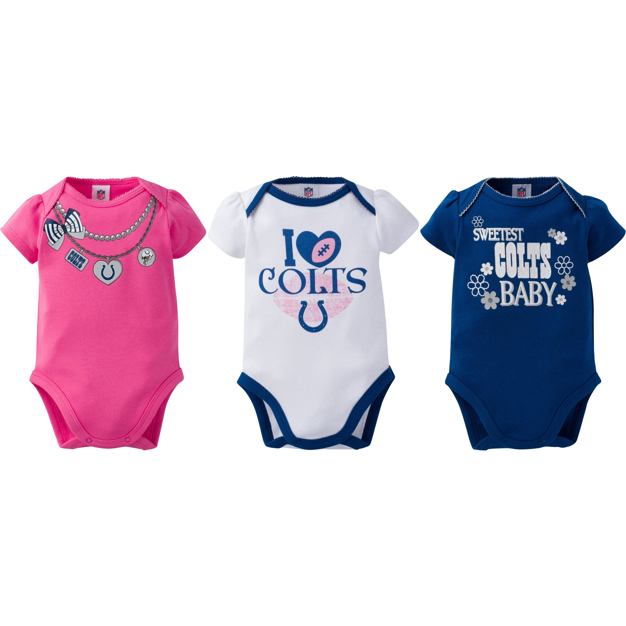 Indianapolis Colts 3-Pack Infant Girl Short Sleeve Bodysuits