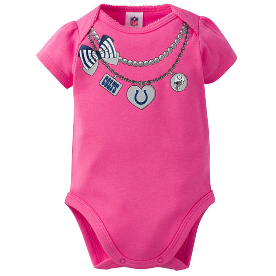 A-Team Apparel Indianapolis Colts Infant Girls Cutest Little Fan 3 Piece Creeper Set 3-6 Month