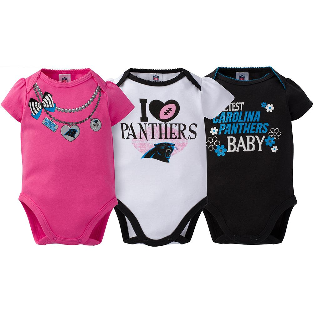 Carolina Panthers 3-Pack Infant Girl Short Sleeve Bodysuits-Gerber Childrenswear