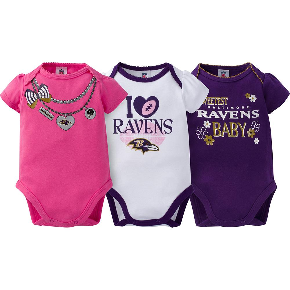 Baltimore Ravens 3-Pack Infant Girl Short Sleeve Bodysuits-Gerber Childrenswear