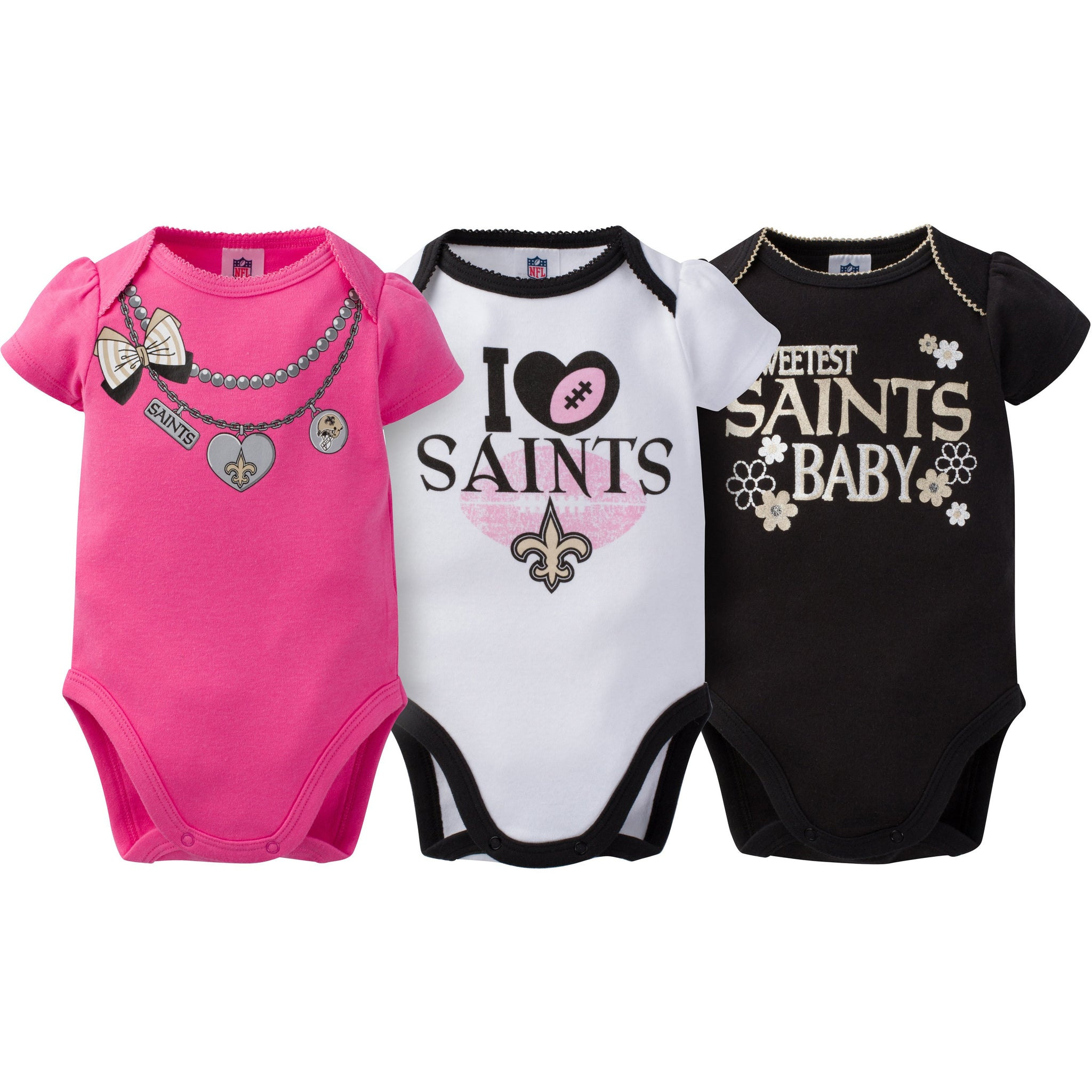 New Orleans Saints 3-Pack Infant Girl Short Sleeve Bodysuits-Gerber Childrenswear