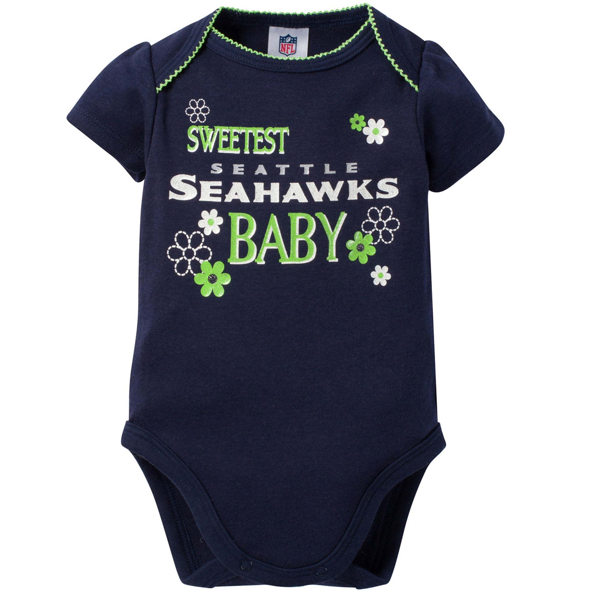 Seattle Seahawks 3-Pack Infant Girl Short Sleeve Bodysuits-Gerber Childrenswear
