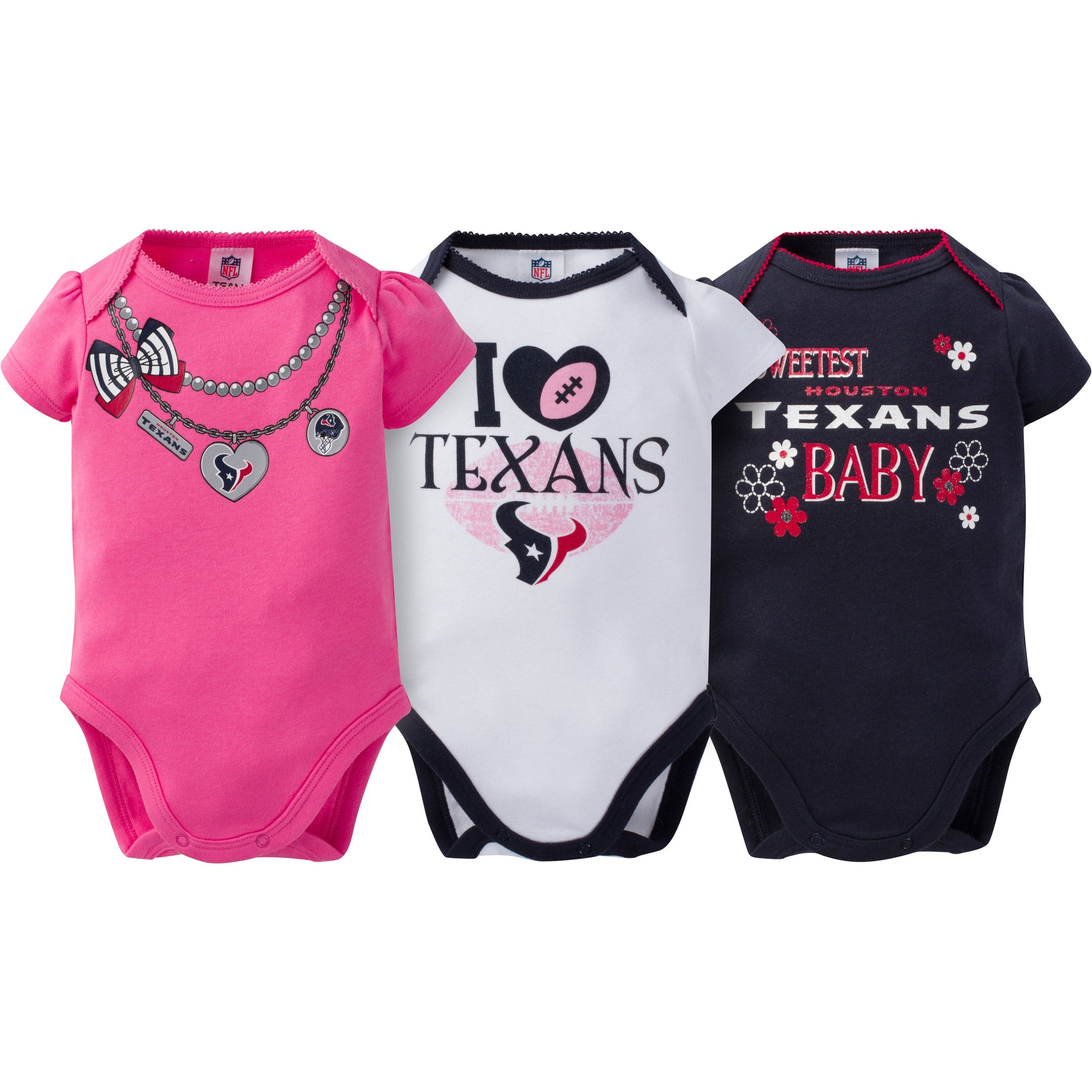 Houston Texans 3-Pack Infant Girl Short Sleeve Bodysuits
