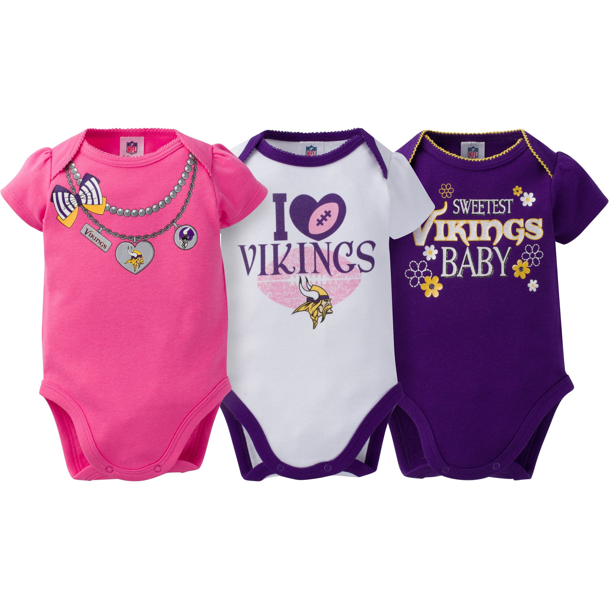 Minnesota Vikings 3-Pack Infant Girl Short Sleeve Bodysuits-Gerber Childrenswear
