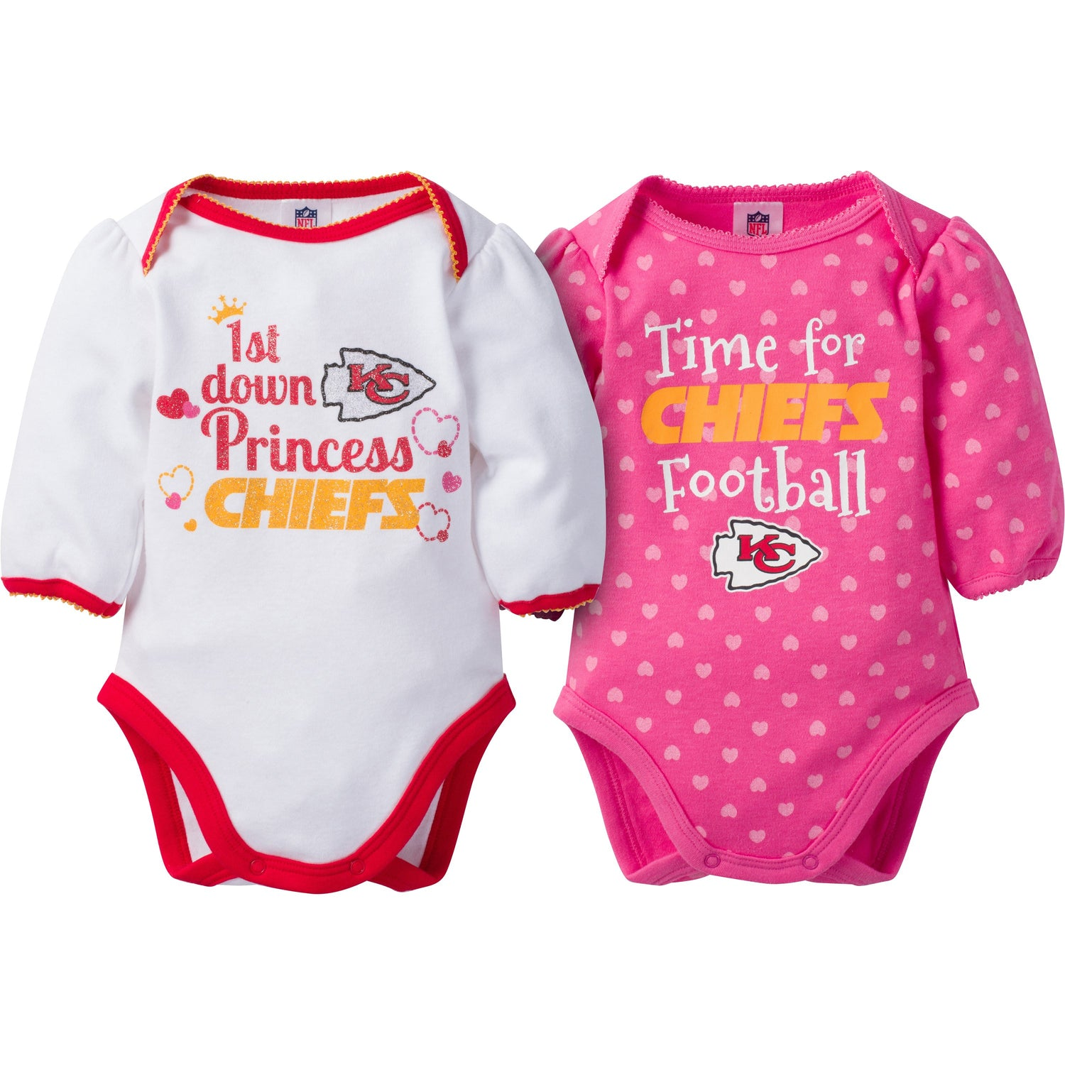 new products a9f4e f3562 Kansas City Chiefs 2-Pack Infant Girl Long Sleeve Bodysuits
