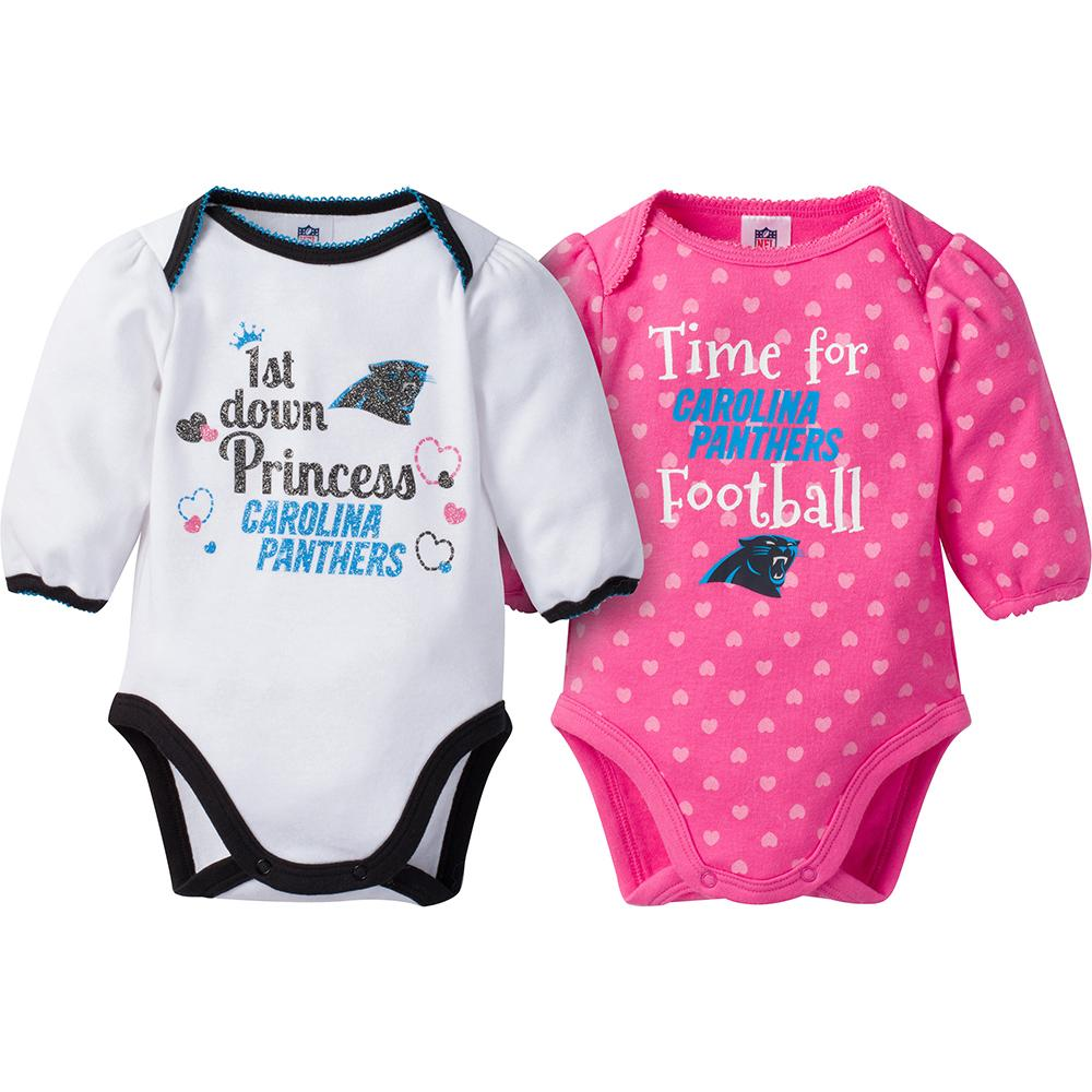 Carolina Panthers 2-Pack Infant Girl Long Sleeve Bodysuits