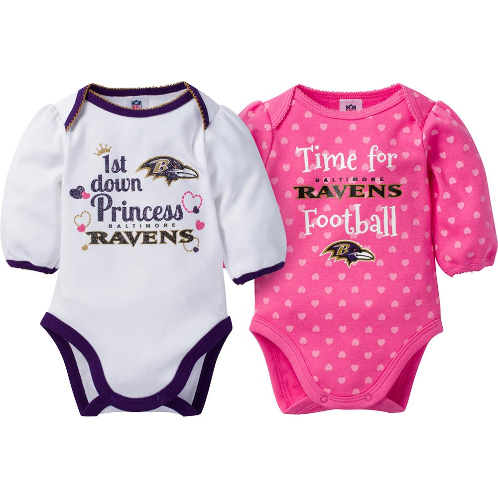 Baltimore Ravens 2-Pack Infant Girl Long Sleeve Bodysuits-Gerber Childrenswear