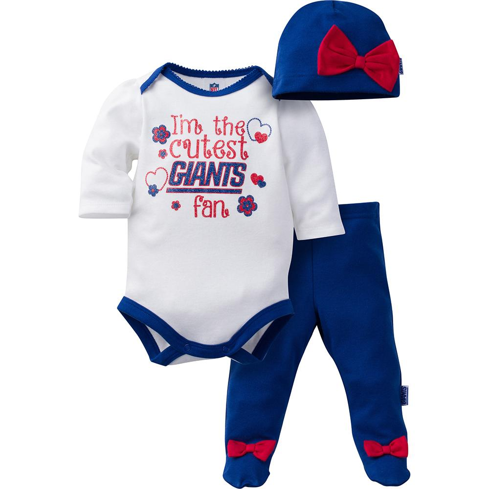 Giants Baby Girls Bodysuit, Pant and Cap Set