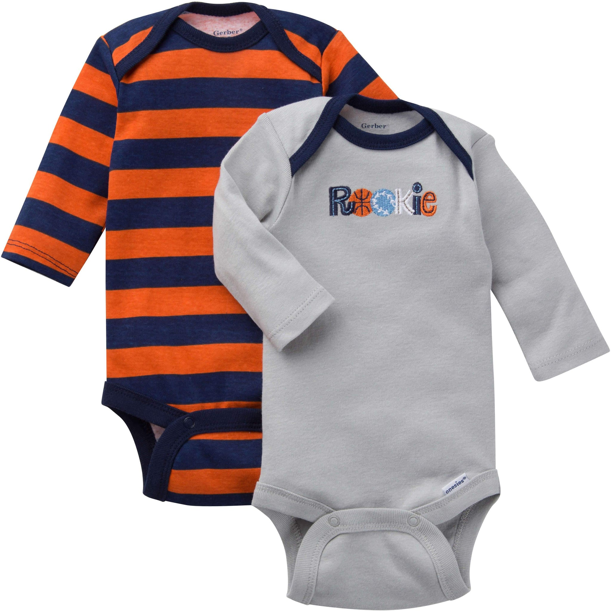 2-Pack Boys Onesies Brand Long Sleeve Bodysuits - Sports