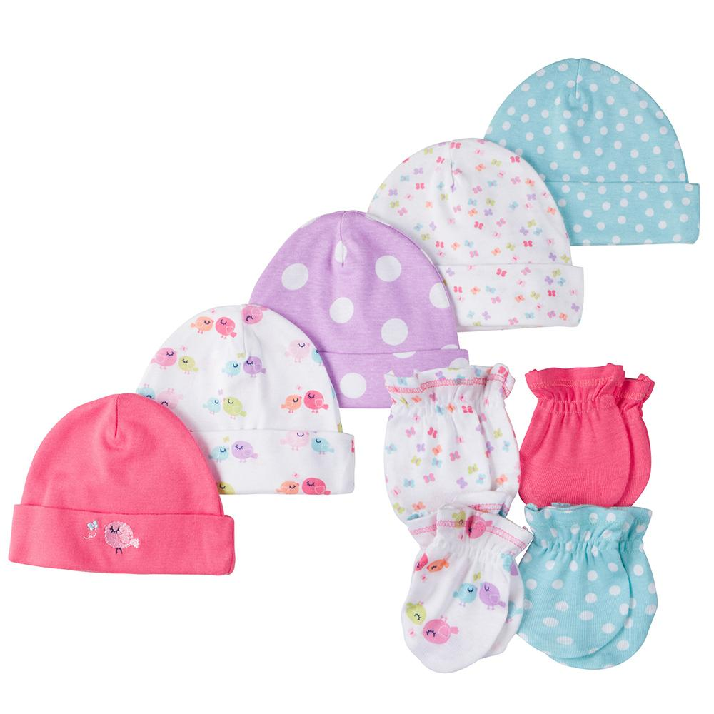 9-Piece Girls Little Bird Caps & Mittens Set-Gerber Childrenswear