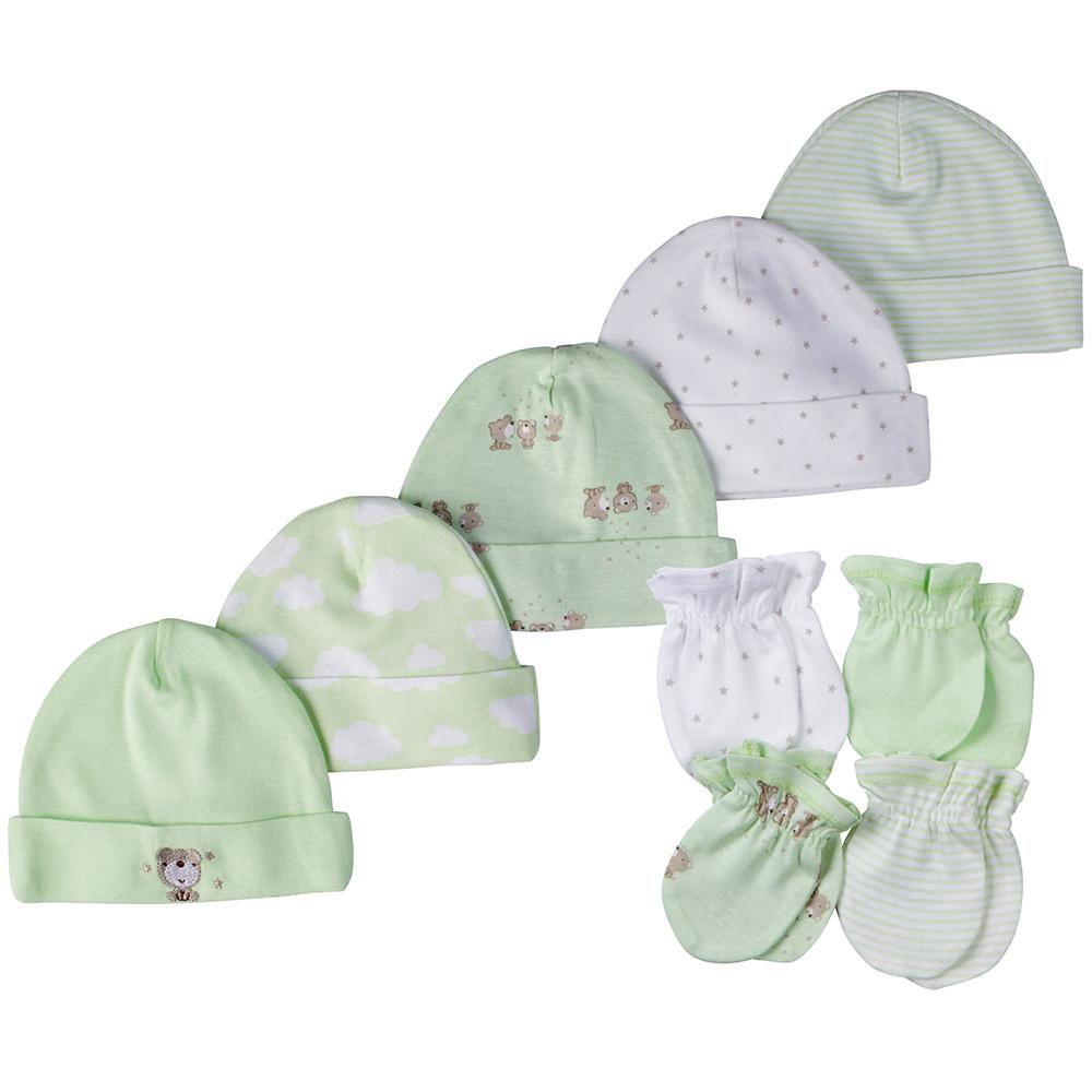 9-Piece Neutral Mint Green Bear Caps & Mittens Set-Gerber Childrenswear