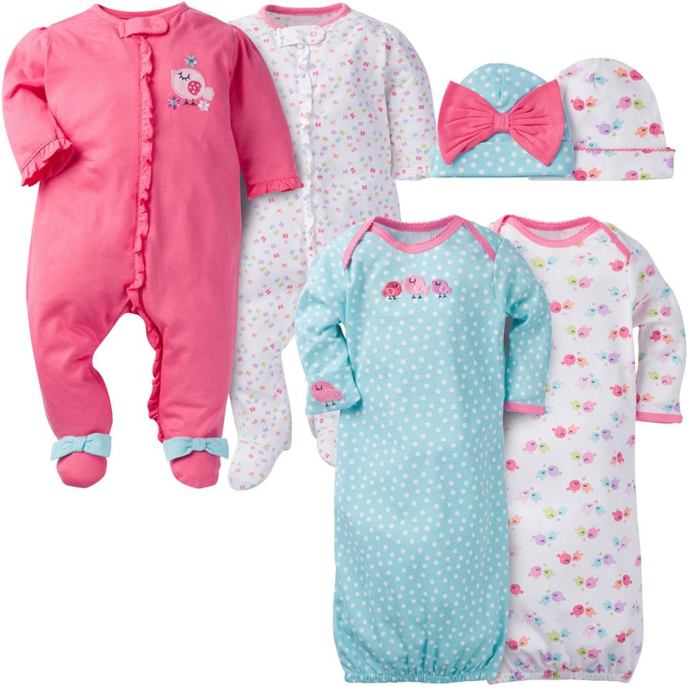 6-Piece Girls Little Bird Sleepwear Set-Gerber Childrenswear