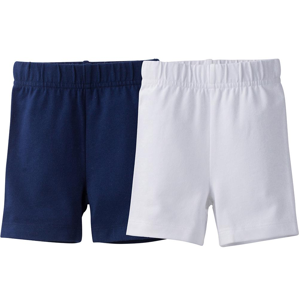2-Pack Girls Navy & White Biker Shorts
