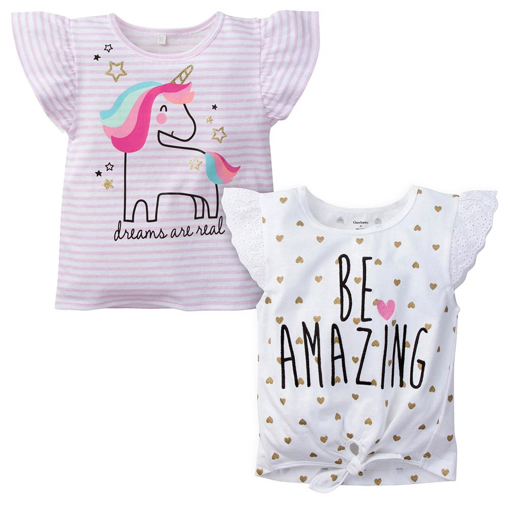 2-Pack Infant & Toddler Girls Unicorn & Be Amazing Fashion Tops