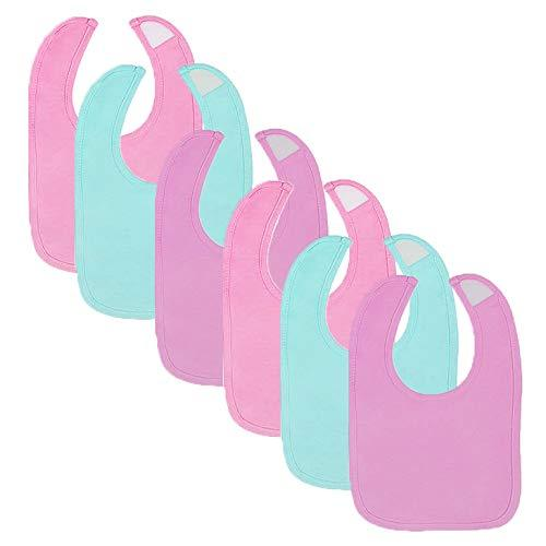 6-Pack Girls Solid Colors Dribbler Bibs