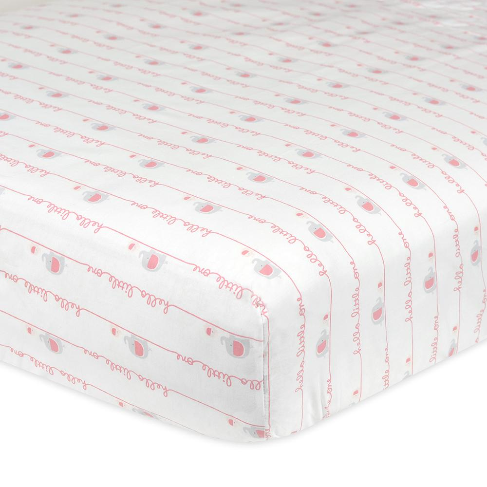 1-Pack Girls Pink Elephant Fitted Crib Sheet