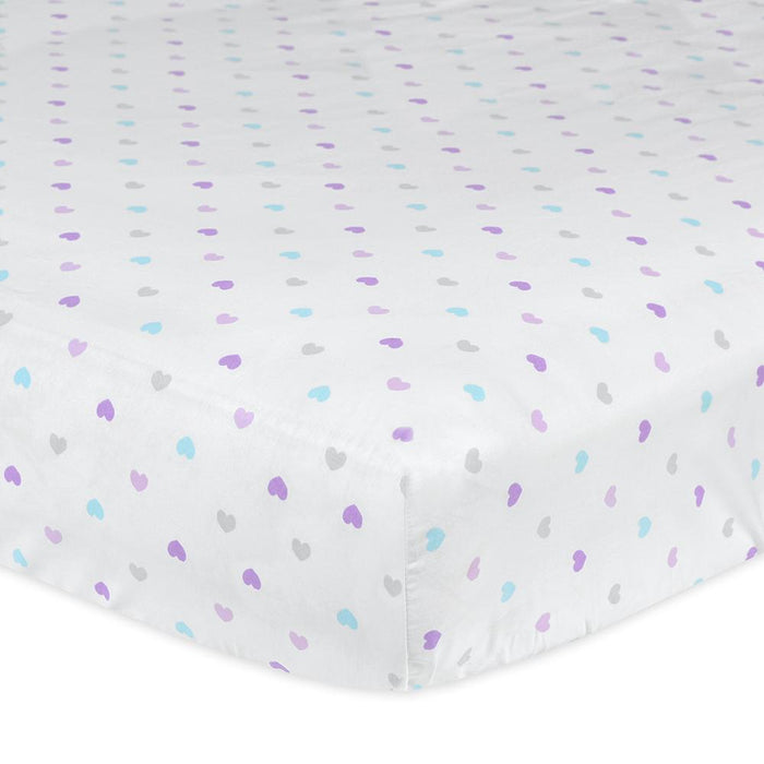 1 Pack Girls Multi Colored Hearts Fitted Crib Sheet 100 Cotton