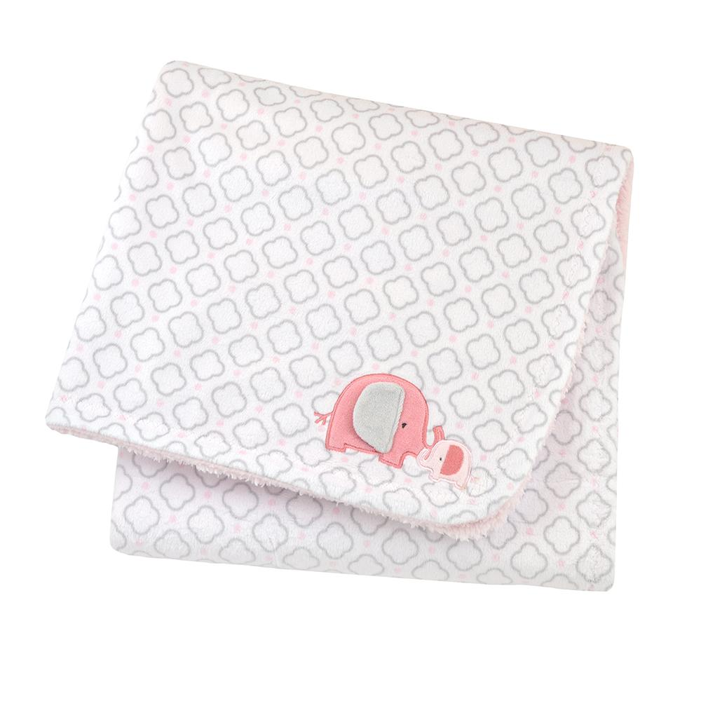 1-Pack Girls Pink & Grey Elephant 2-Ply Blanket