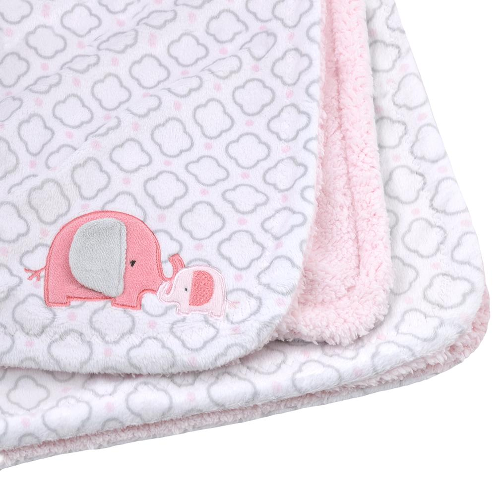 1-Pack Girls Pink & Grey Elephant Plush Blanket-Gerber Childrenswear