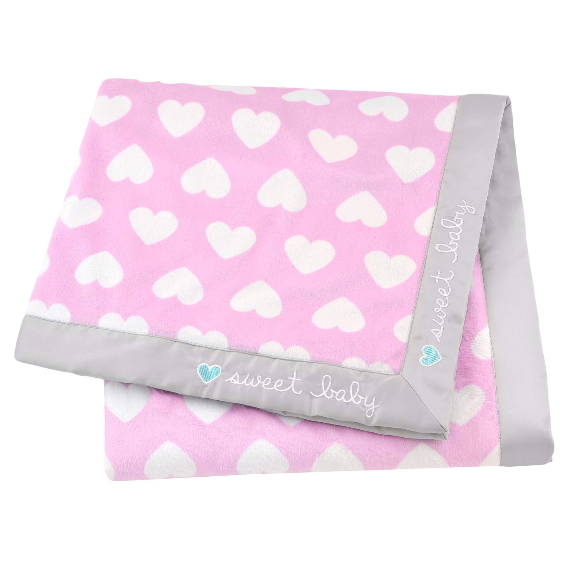 1-Pack Girls Sweet Baby Hearts Plush Blanket