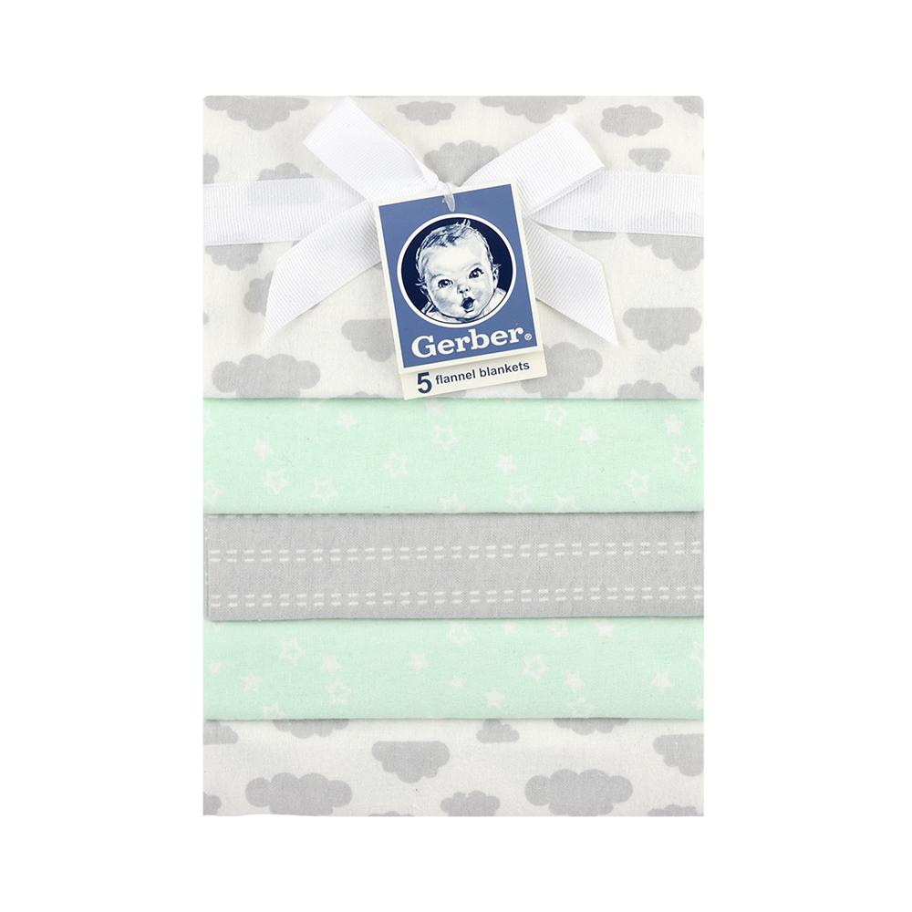 5-Pack Neutral Green & Grey Flannel Receiving Blankets