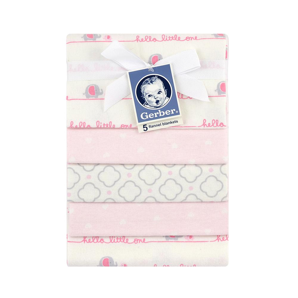 5-Pack Girls Pink Elephant Flannel Receiving Blankets-Gerber Childrenswear