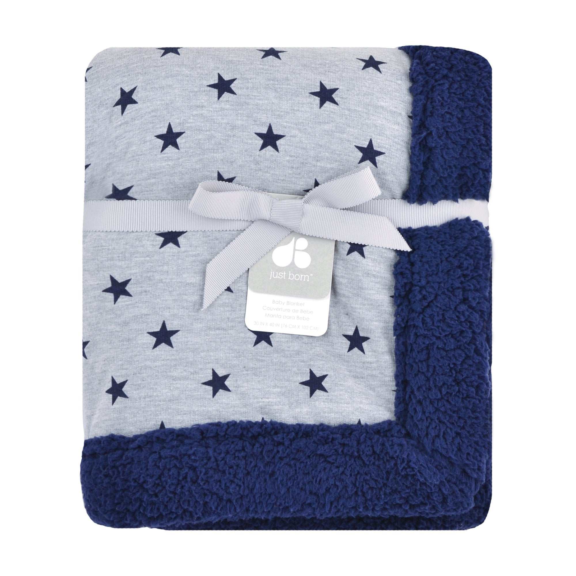 Just Born Plush Blanket in Navy and Heather Grey-Gerber Childrenswear
