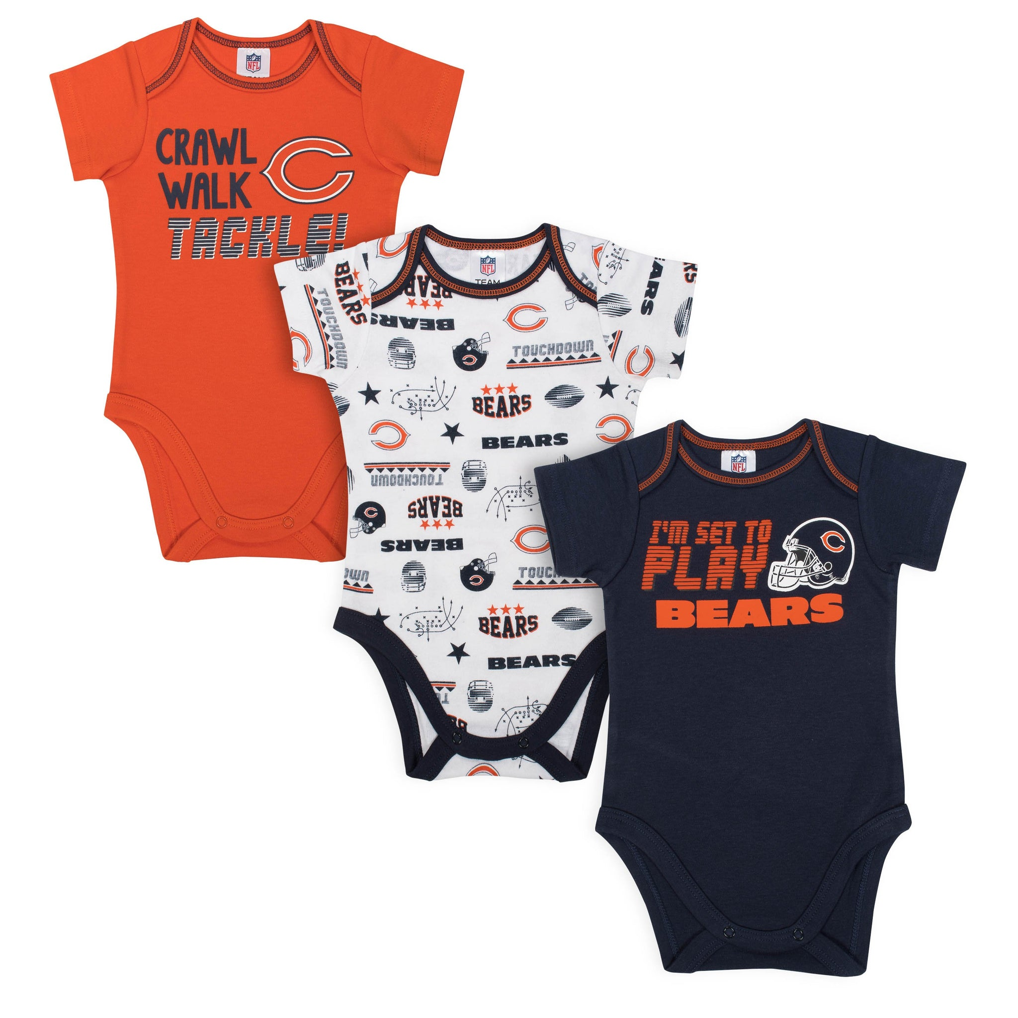Baby Boys Chicago Bears Short Sleeve Bodysuit, 3-pack-Gerber Childrenswear