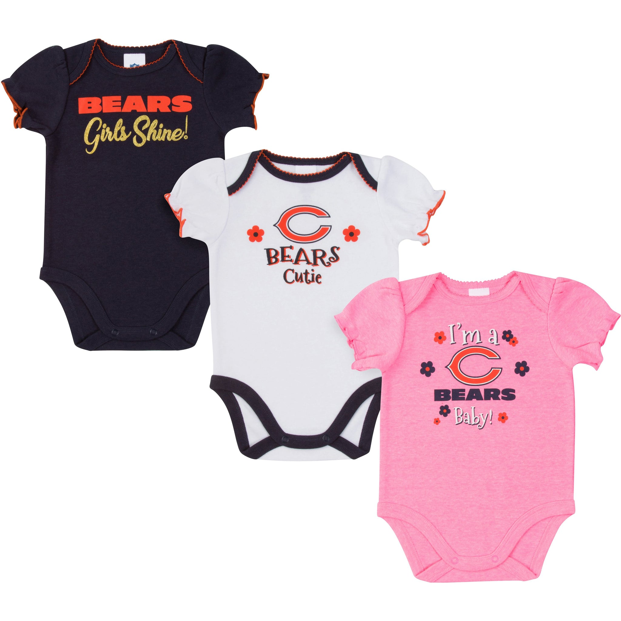 Chicago Bears Baby Girl Short Sleeve Bodysuit, 3-pack -Gerber Childrenswear