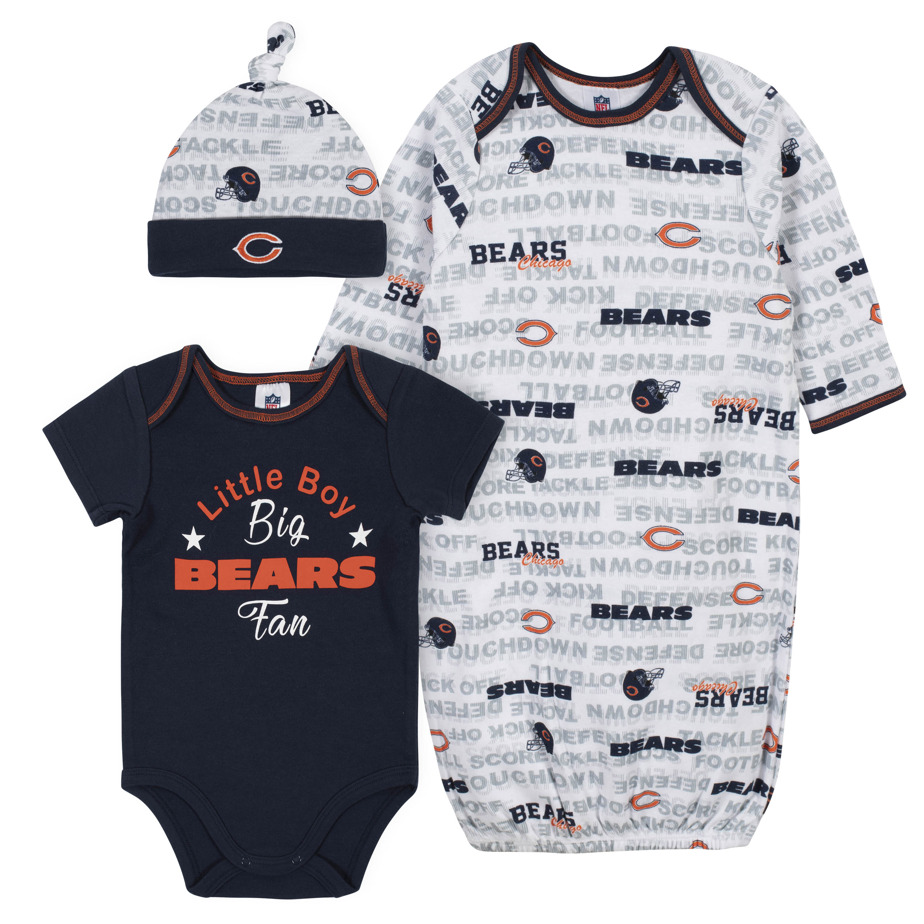 Baby Boys 3 Piece Chicago Bears Bodysuit Gown And Cap