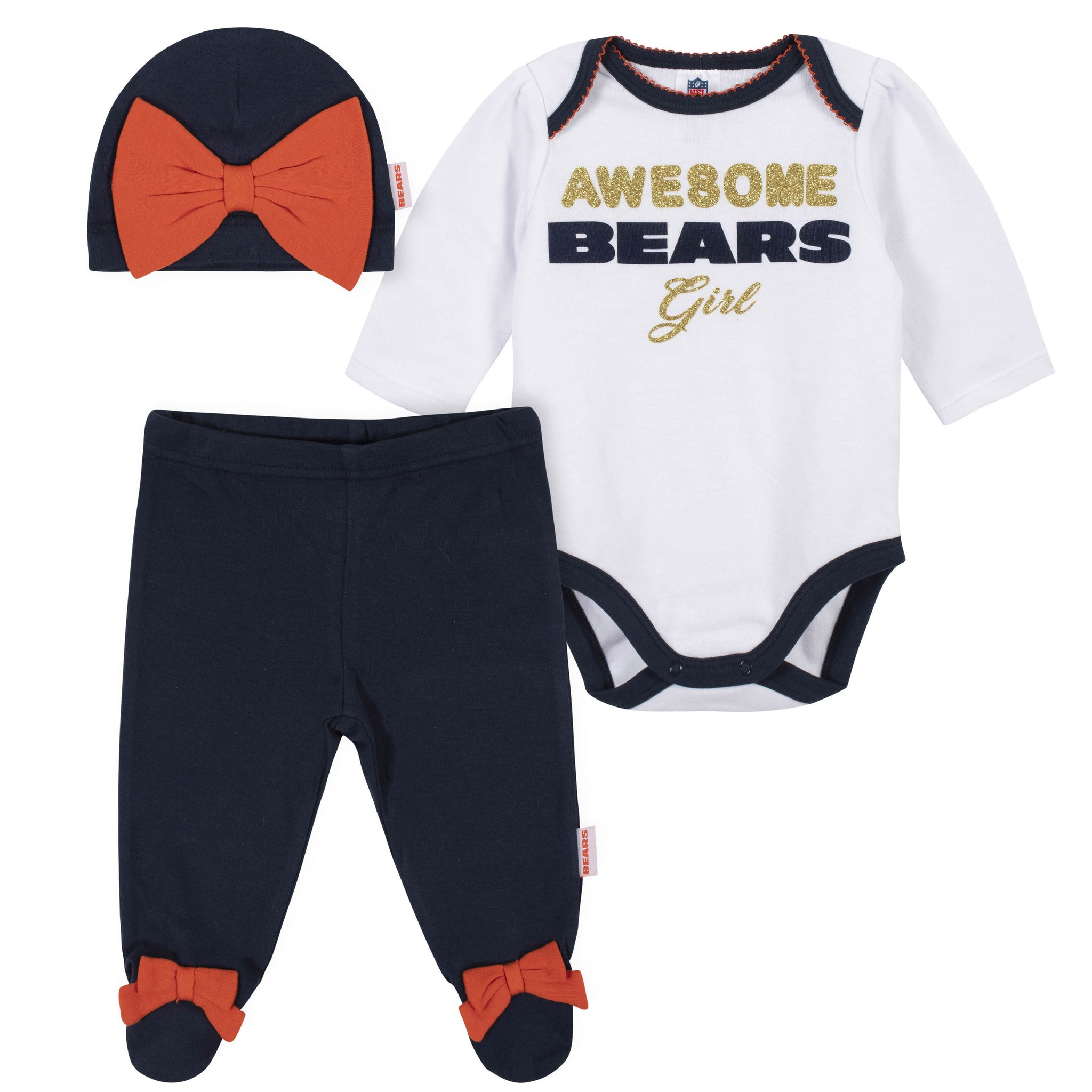 Baby Girls Chicago Bears 3-Piece Bodysuit, Pant, and Cap Set